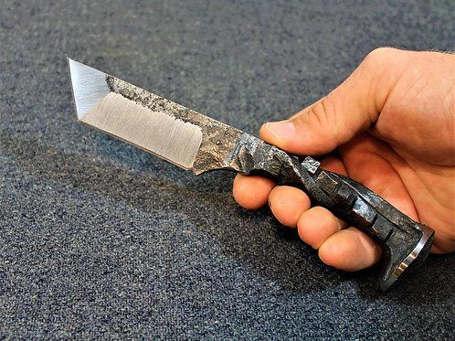 Hand forged railway spike knife