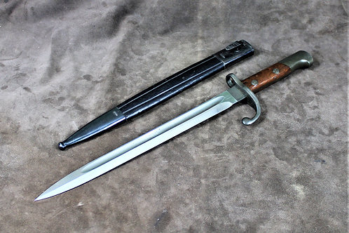 Antique bayonet, with leather scabbard