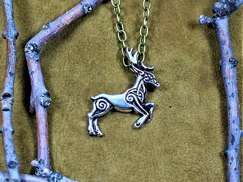 Viking style stag necklace, celtic knotwork