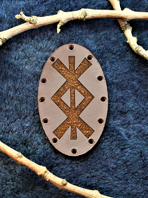 Brown leather protection symbol patch, sew on bind rune