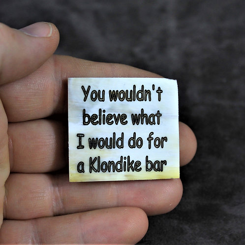 You wouldn't believe what I would do for a Klondike bar, horn pin,brooch