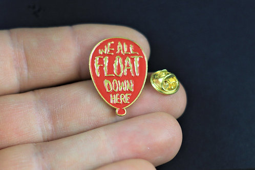 We all float down here, spooky enamel pin