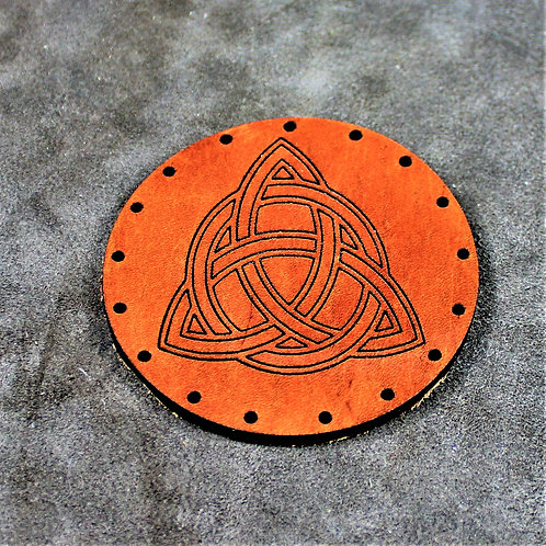 Celtic knot - Triquetra - leather sew on patch