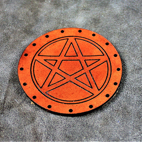Pentagram leather sew on patch