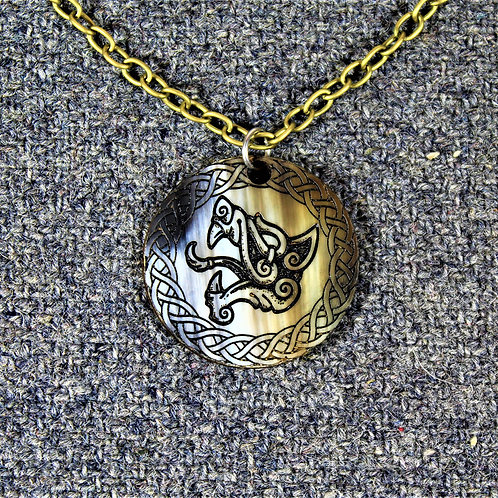 Deluxe Fenrir necklace, carved from horn