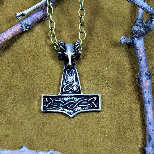 Thor's hammer necklace, ram's head motif
