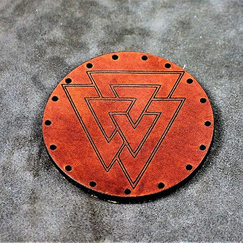 Valknut leather sew on patch