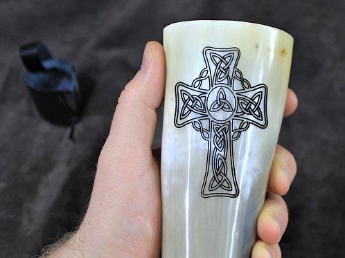 Carved drinking horn, Celtic cross