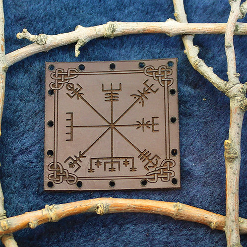 Vegvisir patch, carved leather sew on runic compass