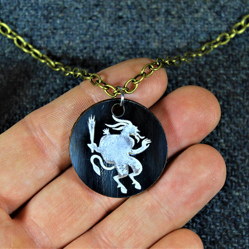 Krampus necklace, carved from horn, with chain