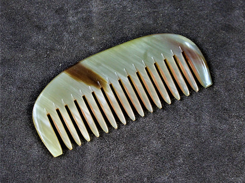 Beard comb, made from horn, natural brown stripe