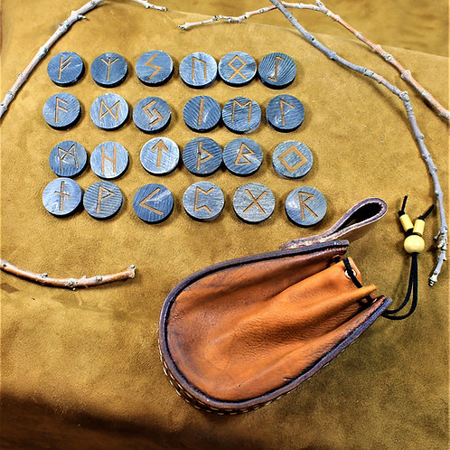 Viking runes, carved out of horn, with leather belt bag for carryin