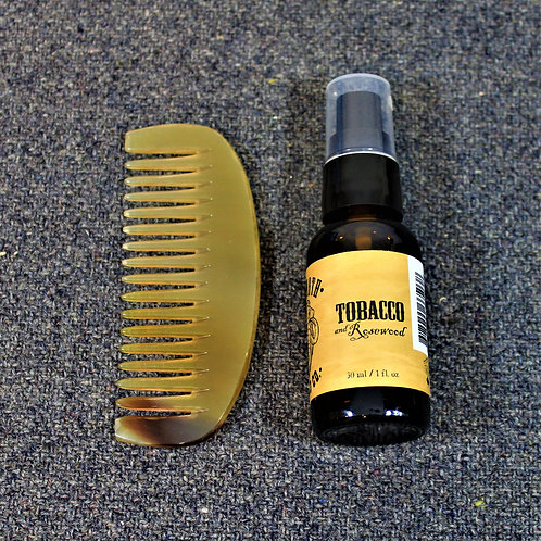 SALE - Mammoth beard oil and horn comb, Tobacco and Rosewood scent