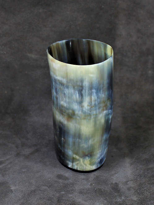 Horn drinking cup, no handle, flat bottom, nice colours