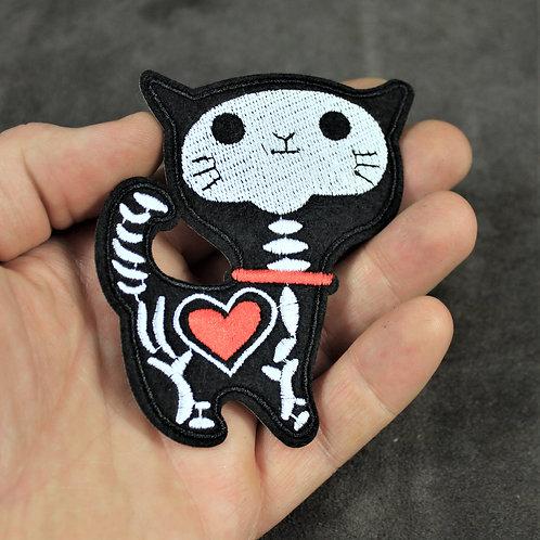 Skeleton cat, iron patch, goth feline, SkeleCat