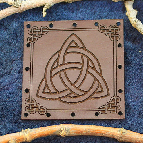 Celtic knot, carved leather triquetra patch