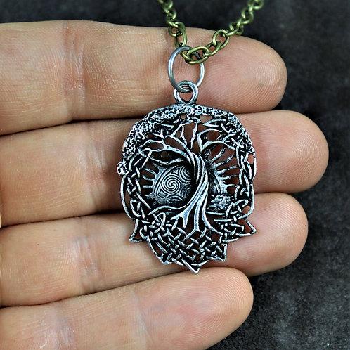 Viking world tree necklace, Yggdrasil pendant on chain
