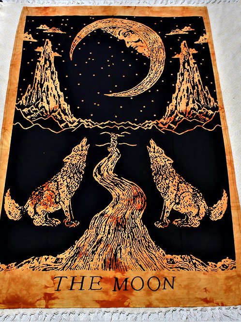 The moon, howling wolf tapestry, orange