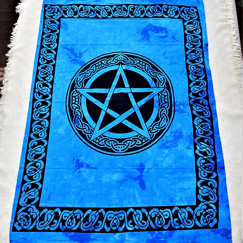 Pentagram Tapestry, blue, 100% cotton, hand made & hand dyed