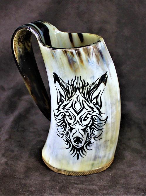 Viking wolf, carved drinking horn mug