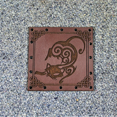 Cat patch, carved leather, for Freyja