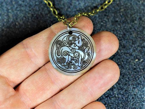 Viking hound, carved horn necklace