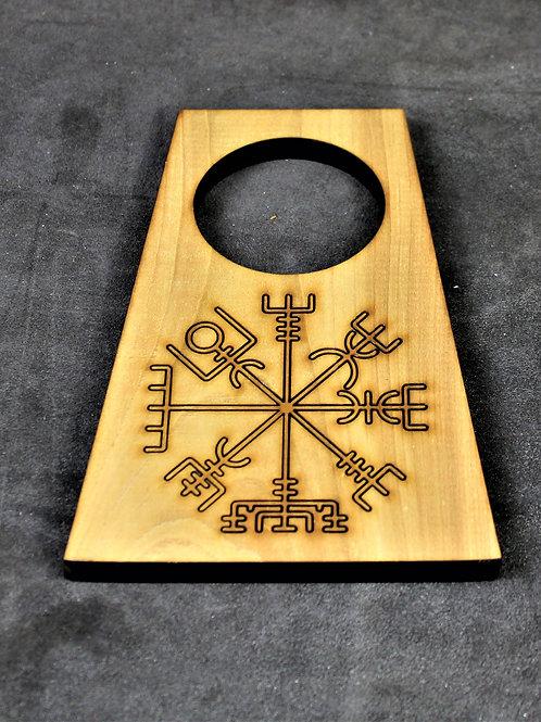 Drinking horn stand, wooden, Vegvisir design