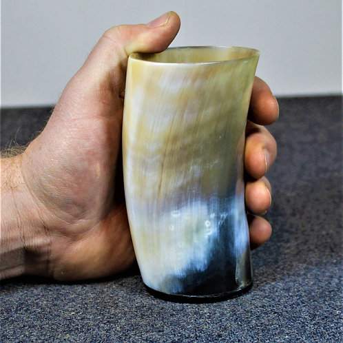 Horn drinking cup, no handle, flat bottom, great colours