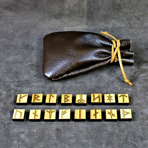 Younger Futhark runes, square wooden tiles, with leather bag