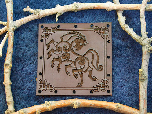Sleipnir, Odin's 8 legged horse, carved leather patch