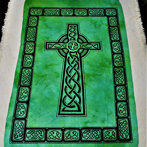 Celtic Cross tapestry, vibrant green, great to hang on the wall
