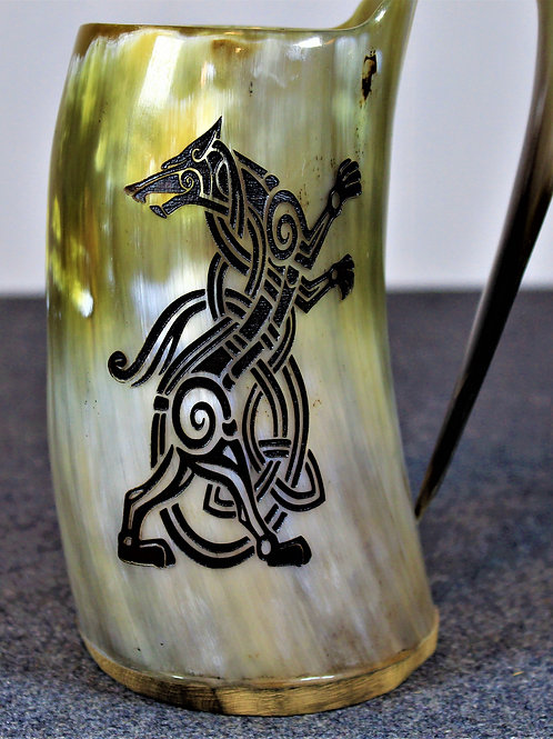 Viking werewolf carved drinking horn mug
