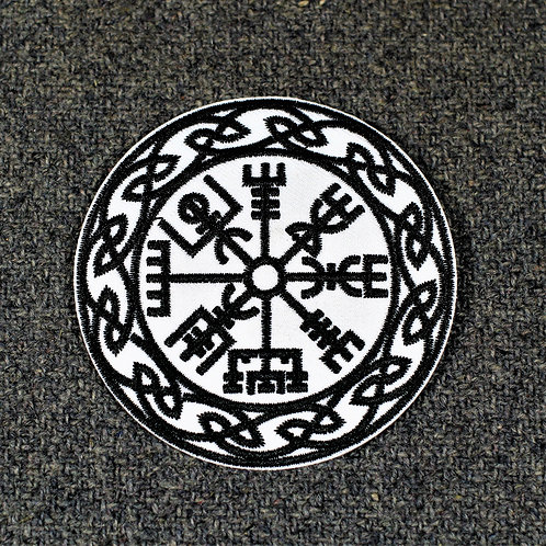 Vegvisir iron on patch, with knotwork border