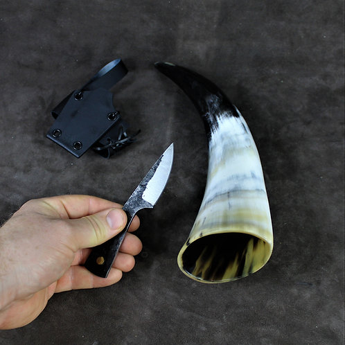 Drinking horn with knife, attached to belt holster