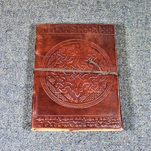 Red leather grimoire, spellbook, artbook or journal, Celtic shield knot design