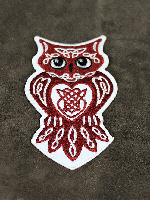 Owl patch, Celtic style, iron on