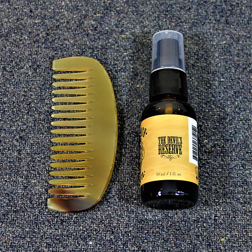 SALE - Mammoth beard oil and horn comb, the Devil's Reserve scent