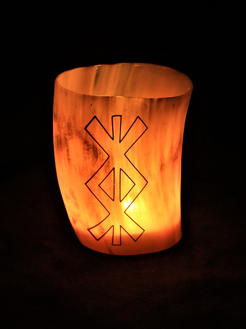 Horn canlde holder, protection bind rune, fits a tealight