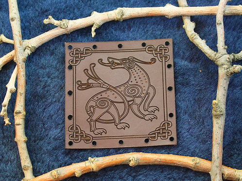 Viking hound, carved brown leather sew on patch