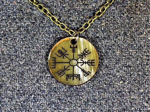 Vegvisir necklace, carved from horn