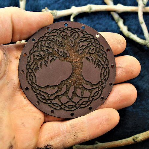 Viking tree, yggdrasil carved leather patch, sew on