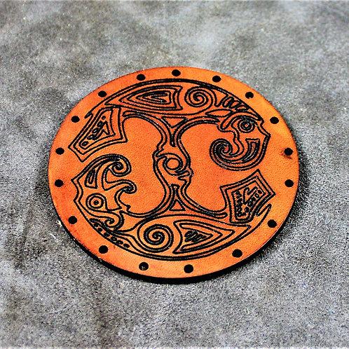 Odin's ravens leather sew on patch