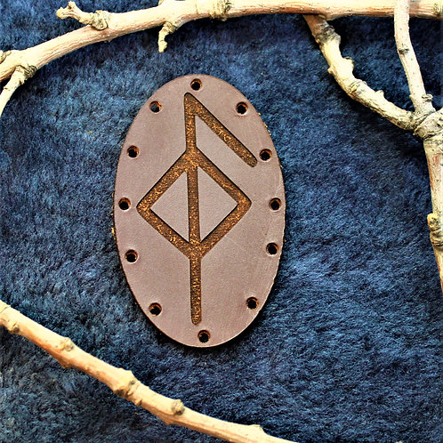 Brown leather health symbol patch, sew on bind rune