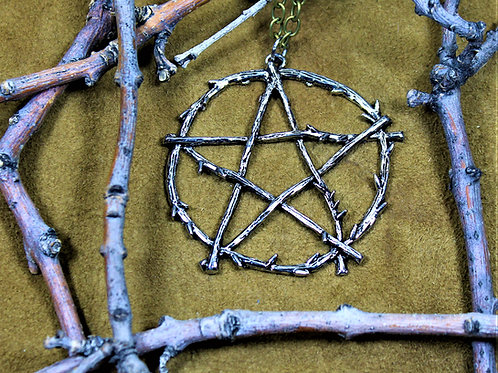 Pentagram necklace, large, nature theme