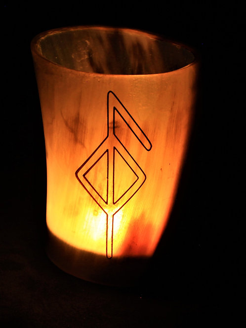 Horn canlde holder, health bind rune, fits a tealight