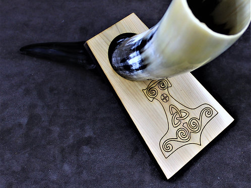 Drinking horn stand, wooden, Thor's hammer design