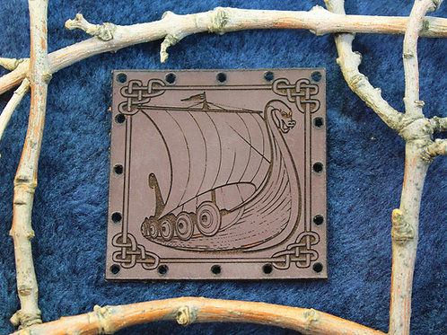 Viking longship, carved leather patch, sew on