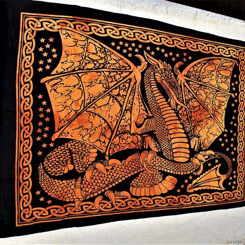 Proud dragon tapestry, fire orange colour