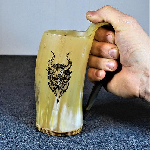 Krampus carved drinking horn mug, holds a beer