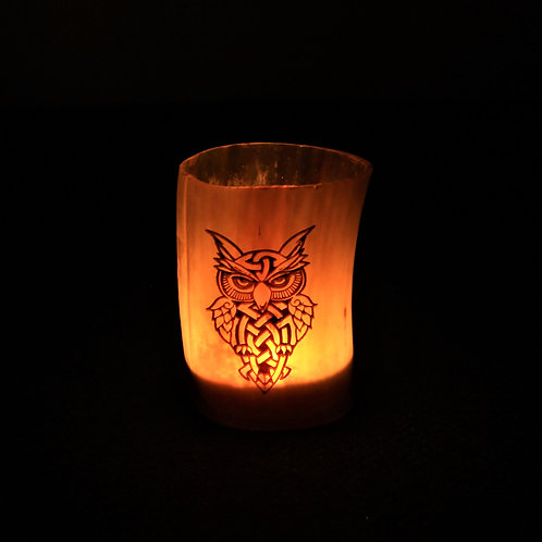 Celtic owl, carved horn candleholder, fits a tealight